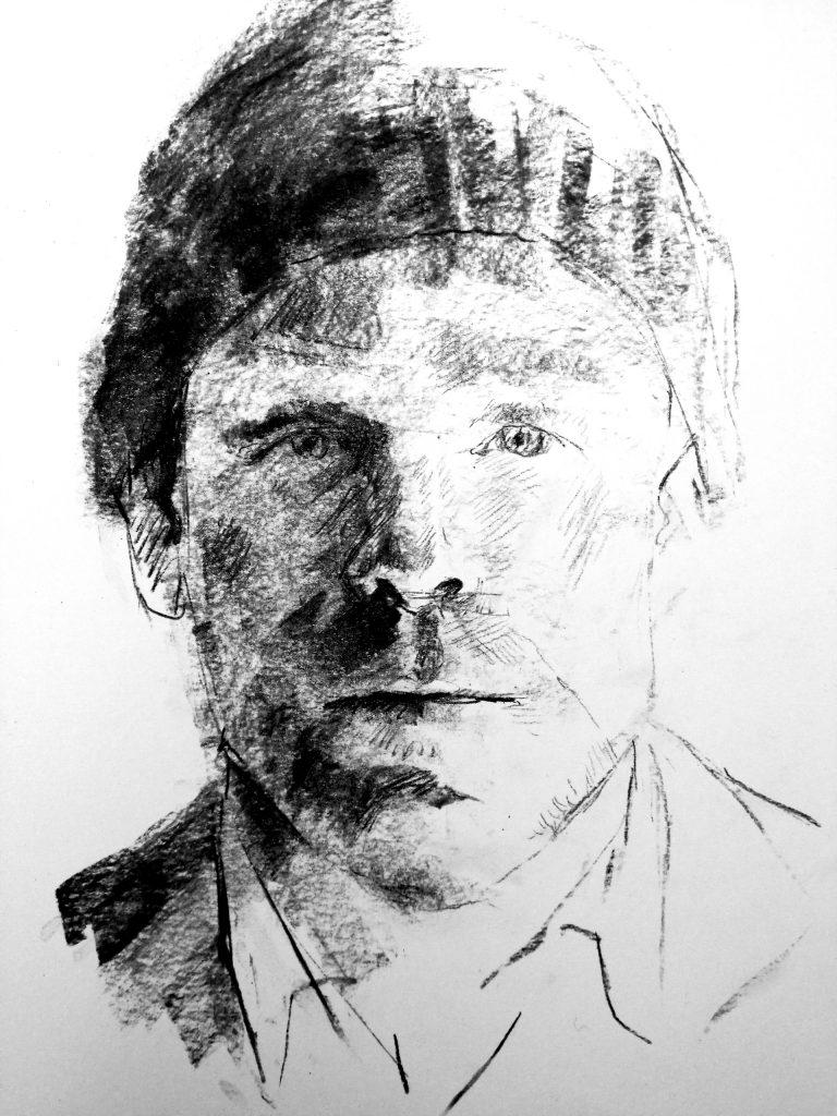 Portraitzeichnung in Kohle von Jan Helbig